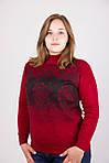 Модная кашемировая кофта в красном цвете с черным абстрактным рисунком, фото 3