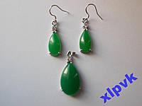 Набор Green Emerald-Зеленый Жадеит-Капли-ИНДИЯ №2