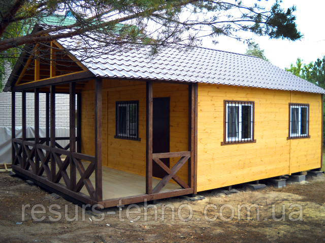Дачный домик 6м х 6м.С терассой и внутренней отделкой вагонкой