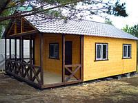 Дачный домик 6м х 6м.С терассой и внутренней отделкой вагонкой, фото 1