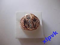 Кольцо-Печатка 3 камня -Ажур-20.5р-Rose Gold-ИНДИЯ