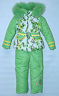 Зимний комбинезон тройка для девочки 1-5 лет Yongwan зеленый