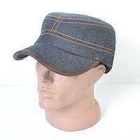 Стильная теплая джинсовая кепка-немка на флисе с ушками - 29-449