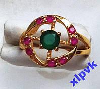 Кольцо Изумруд 4мм,8 Роз.Рубинов-18.8р-375пр-ИНДИЯ