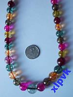 Ожерелье Полихромный Турмалин 7-12мм-47 см-ИНДИЯ