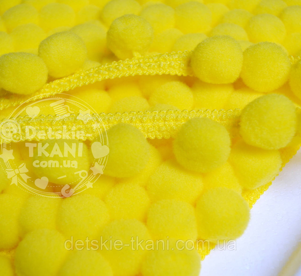 Тасьма з помпонами 20 мм жовтого кольору (Польща)