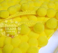 Тесьма с помпонами 20 мм жёлтого цвета (Польша)
