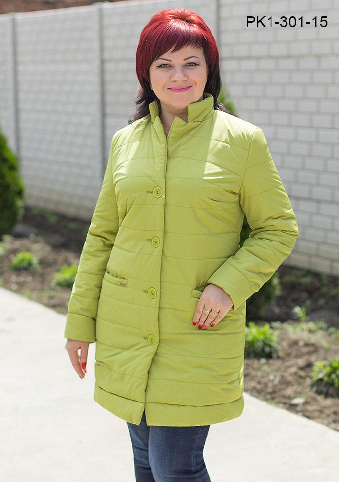 Женская куртка из плащёвки цвет оливковый размер 44,46