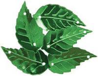 Пайетки листик березовый зеленый 1,5 см