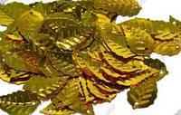 Пайетки листик березовый золотой 1,5 см