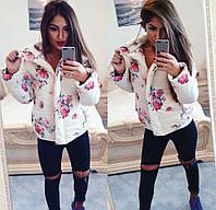 Куртка Спортивная тёплая высокая стойка бежевые розы +