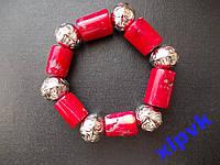 Браслет натуральный красный коралл-Серия Тибет-ИНДИЯ-№3