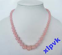 Ожерелье Красивый Розовый ЖАДЕИТ 6-14 мм.ИНДИЯ