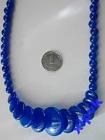 Ожерелье BLUE SAPPHIRE-Жадеит Синий 6-21mm-ИНДИЯ