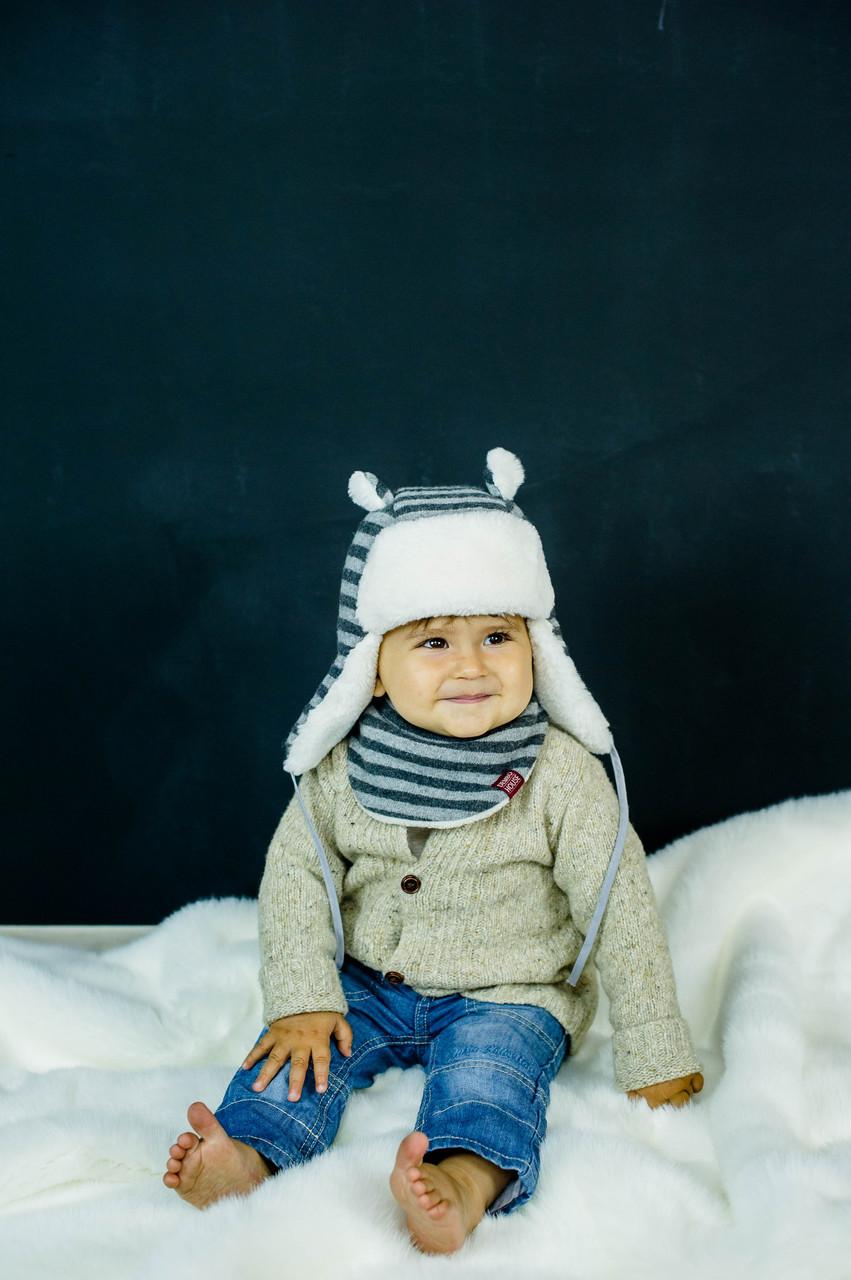 Детская зимняя шапка (набор) для малышей БРУНО оптом размер 42-44-46