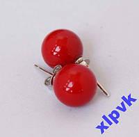 Серьги Красный Жемчуг -10мм-925 проба-Австралия