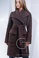 Женское шоколадное пальто из кашемира PL-8668
