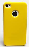 Чехол силиконовый HQ с заглушками для iPhone 4/4S желтый