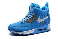 Кроссовки высокие Найк Air Max, голубые, фото 1