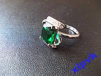 Кольцо Зеленый Изумруд 13 х 10 мм-18 р-925-ИНДИЯ