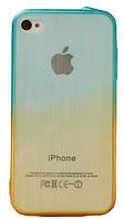 Чехол силиконовый HQ Gradient Stripes с заглушками для iPhone 4/4S Blue/Green