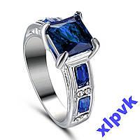 Кольцо Синий Сапфир 8х8мм-18.3р-White 18k GP-ИНДИЯ