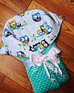 Конверт для новорожденного совушки теплый осень - зима, фото 2