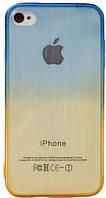 Чехол силиконовый HQ Gradient Stripes с заглушками для iPhone 4/4S Blue/Yellow
