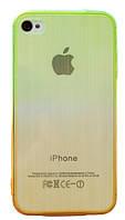Чехол силиконовый HQ Gradient Stripes с заглушками для iPhone 4/4S Green/Yellow