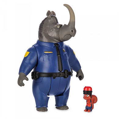 Набор фигурок Зверополис офицер МакРог носорог и белка безопасности/ Zootopia Disney