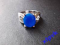 Кольцо Натуральный синий сапфир.Овал 12 х 10 мм-17.3 р- 925 -ИНДИЯ