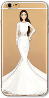 Cиликоновый чехол девушка в платье для iphone 6/6S
