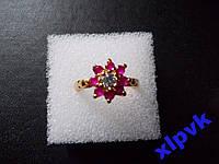 Кольцо Белый Сапфир 4мм,8 Рубинов-17р-375пр-ИНДИЯ