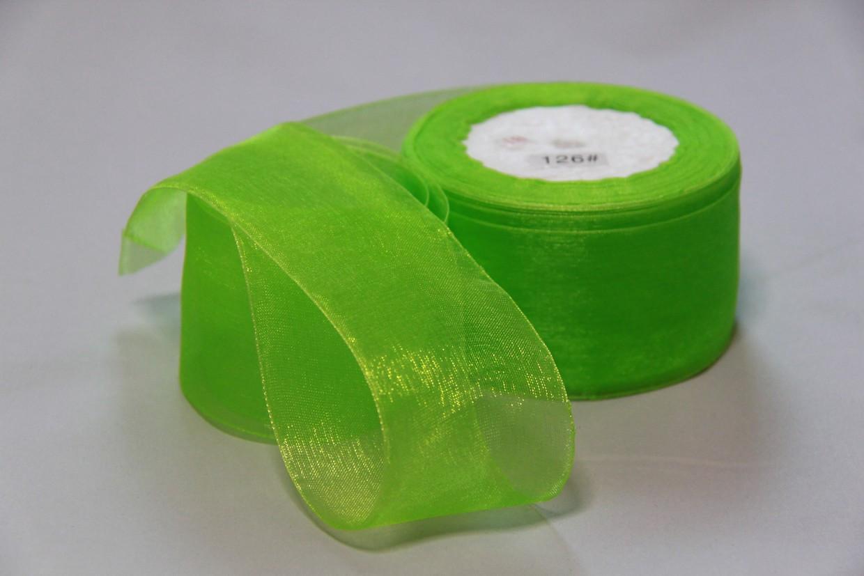 Лента органза 5 см № 126 зеленая