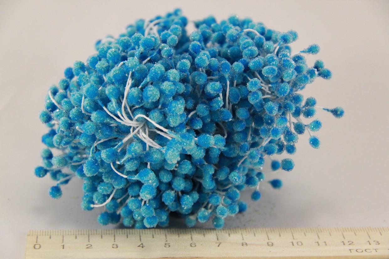 Квіткова тичинка з блискітками блакитна 0,5 см 850шт