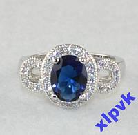 Кольцо Синий сапфир  9х 7 мм.Овал-18.8 р-925-ИНДИЯ