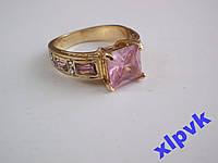 Кольцо Роз.Сапфир,Принцесса 8х8мм-19р-18k GP-ИНДИЯ