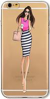 Cиликоновый чехол девушка говорит по телефону для iphone 6/6S