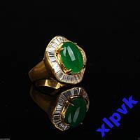 Кольцо Green Emerald- Жадеит-18.5р-ИНДИЯ-ЭКСКЛЮЗИВ