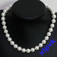 Ожерелье Снежно-Белый  Жемчуг 10мм,18kGP-Австралия