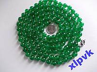 Ожерелье Green Emerald-Зел.Жадеит 8мм-140 см-ИНДИЯ