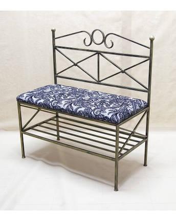 Очень красивый стильный диванчик кованый с мягкой спинкой и сидушкой ДС6, фото 2