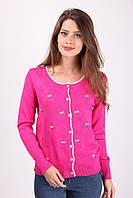 Модная молодежная кофта в розовом цвете на пуговичках