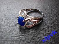 Кольцо Натуральный сапфир.Овал 10 х 8 мм,17.5 р -925- ИНДИЯ