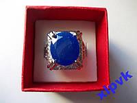 Кольцо Натуральный синий сапфир 14 х 12 мм- 18.2 р-925-ИНДИЯ