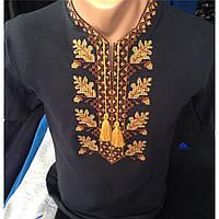 Вышиванка мужская трикотажная  черная короткий рукав оптом и в розницу, Хмельницкий