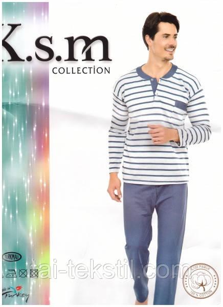 KSM пижама мужская на байке рисунок в полоску Турция