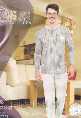 KSM пижама мужская с начесом на байке рисунок в клетку производство Турция, фото 2