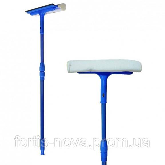 Щётка для мытья окон с поролоновой губкой, резиновой стяжкой для воды и телескопической ручкой 56.5-88.5Х21 см