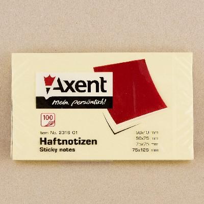 "Стикер, бумага для заметок ""Axent"" 75x125, 100 л."